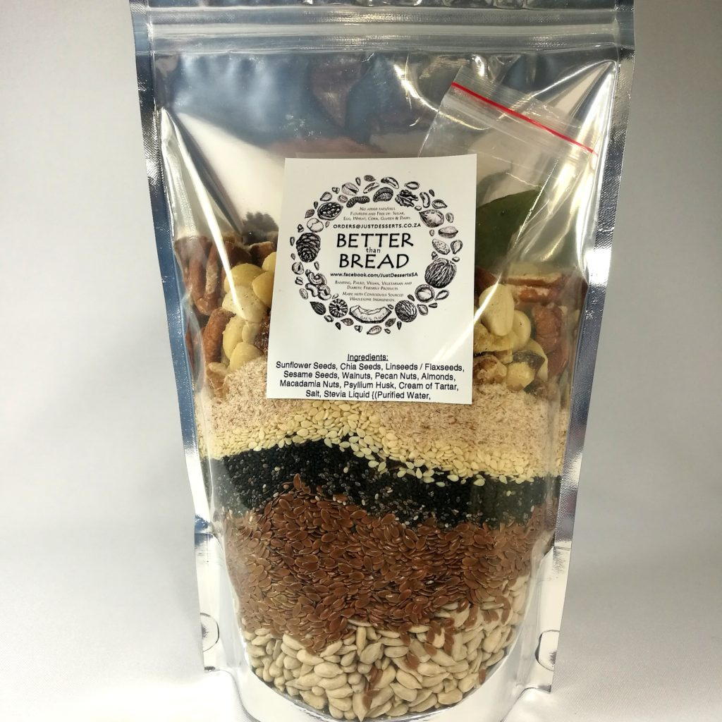 """Product picture that says """"Oats, Nuts & Seeds Bread Premix"""" for Better than Bread."""