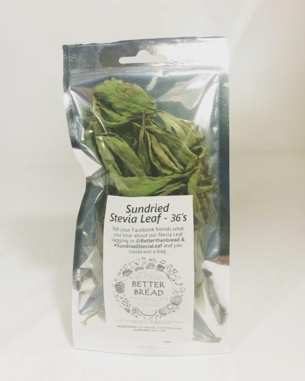 """Product picture that says """"Dried Whole Organic Stevia Leaves - 36"""" for Better than Bread natural sweetener"""