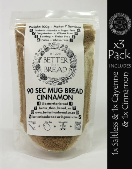 Better Than Bread - 90 Second Mug Bread - Packs of 3 - Saltless & Cayenne & Cinnamon