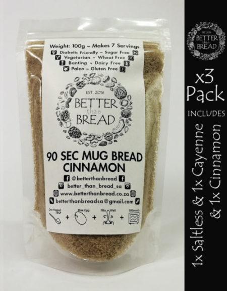 Better Than Bread - 90 Second Mug Bread - Packs of 3 - Saltless & Cayenne & Cinnamon