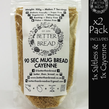Better Than Bread - 90 Second Mug Bread - Packs of 2 - Saltless & Cayenne