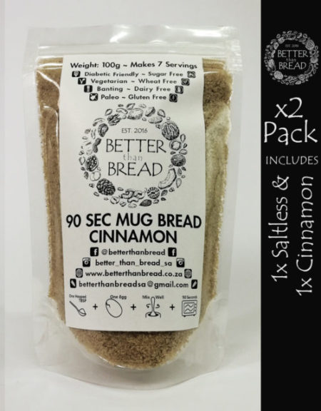 Better Than Bread - 90 Second Mug Bread - Packs of 2 - Saltless & Cinnamon
