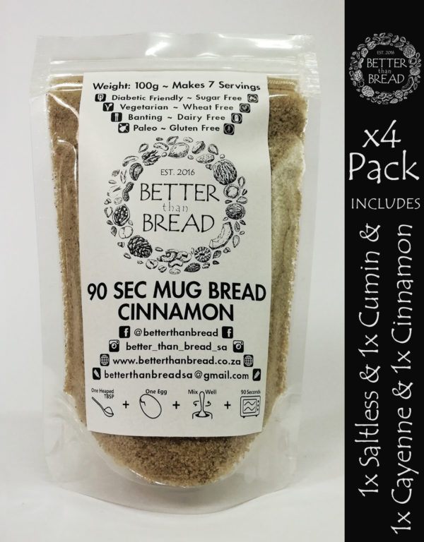 Better Than Bread - 90 Second Mug Bread - Packs of 4 - Saltless, Cumin, Cayenne, Cinnamon