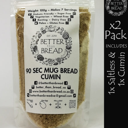 Better Than Bread - 90 Second Mug Bread - Packs of 2 - Saltless & Cumin