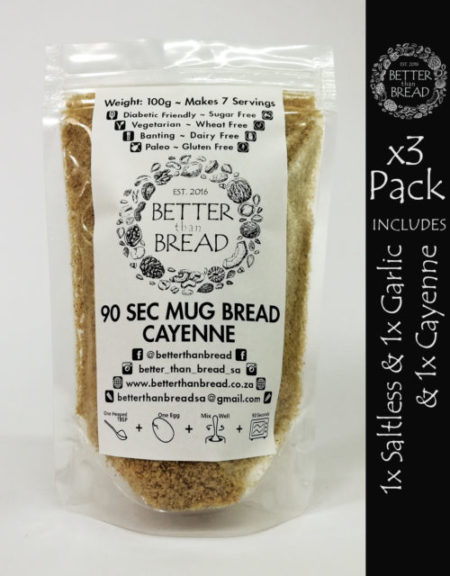 Better Than Bread - 90 Second Mug Bread - Packs of 3 - Saltless & Garlic & Cayenne
