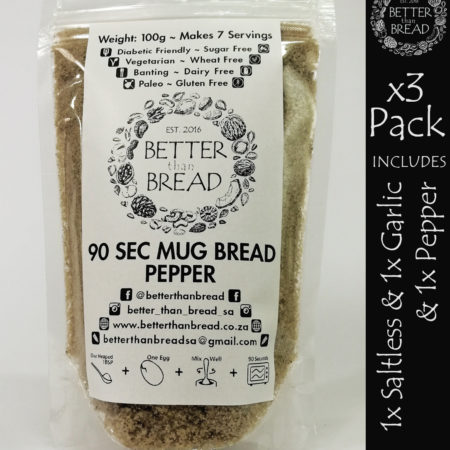 Better Than Bread - 90 Second Mug Bread - Packs of 3 - Saltless & Garlic & Pepper
