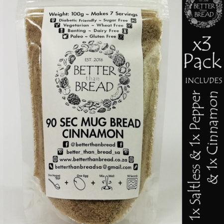 Better Than Bread - 90 Second Mug Bread - Packs of 3 - Saltless & Pepper & Cinnamon
