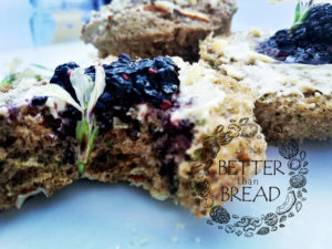 Better Than Bread Muffins with local organic jam and rocket flowers.